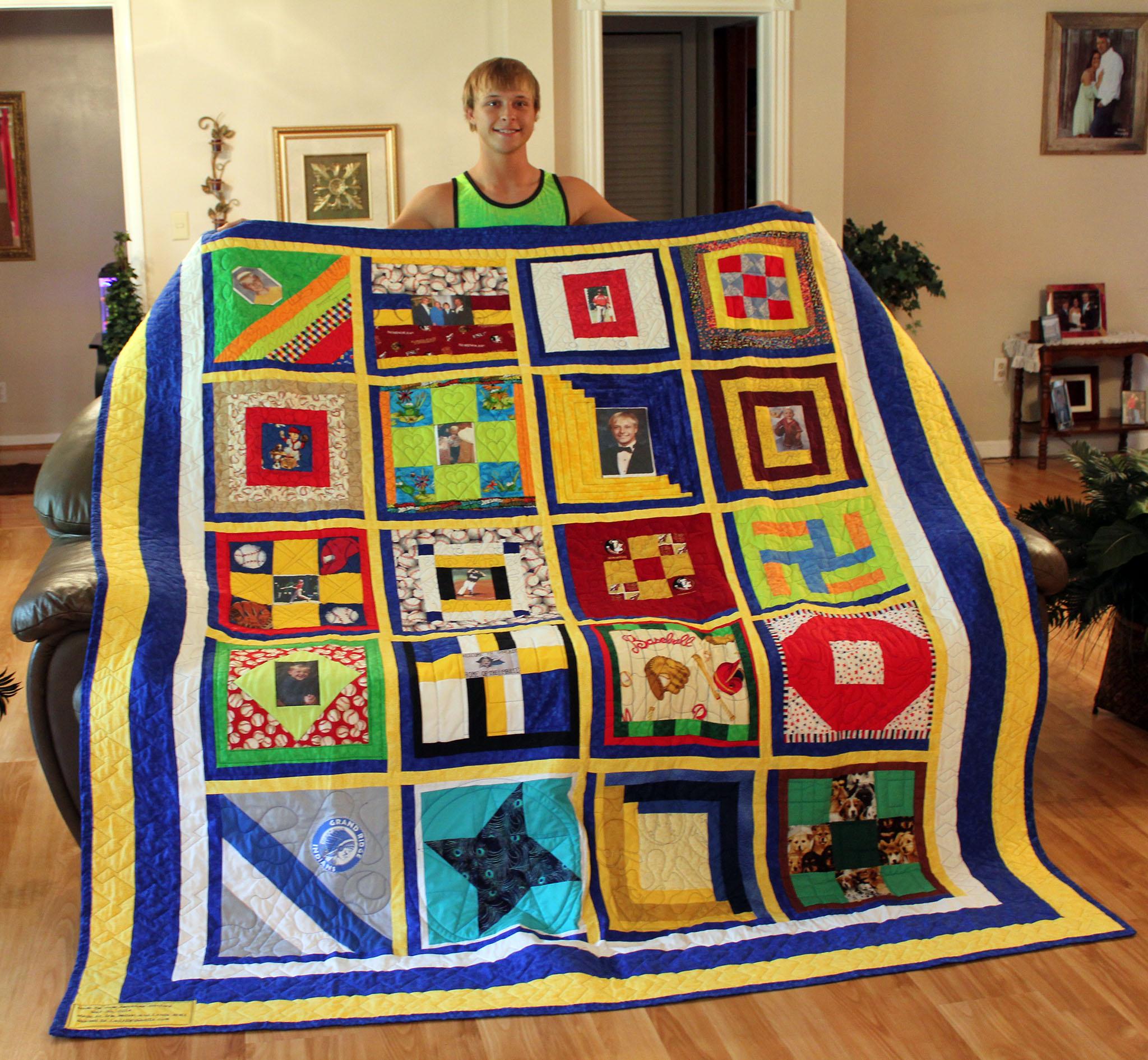 Ryne with quilt