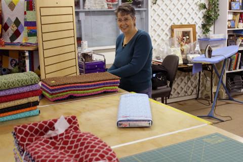 Lynda preparing New Fabric