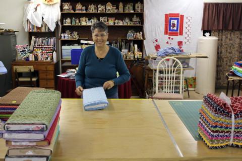 Lynda at Cutting Table
