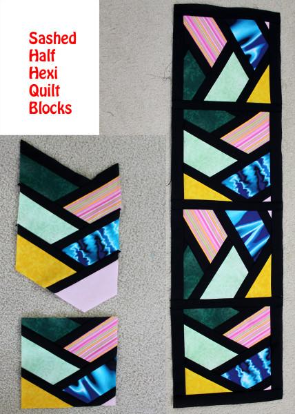 Sashed Half Hexi Quilt Blocks