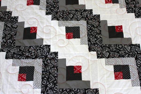 Black, White & Red Log Cabin Quilt