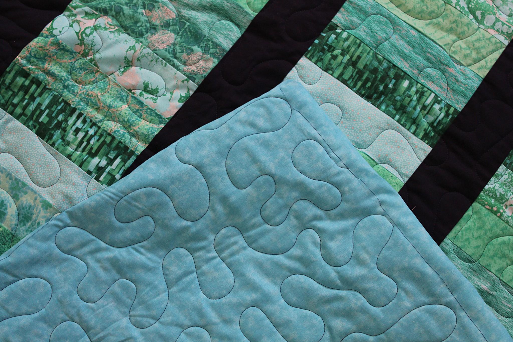 Aqua Strip Quilt