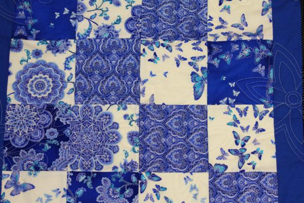 Blue Floral Throw