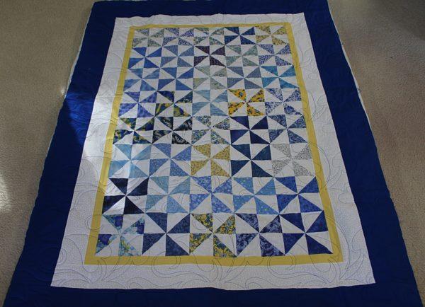 Blue and Yellow Pinwheel Throw
