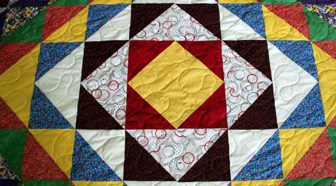 Half Square Triangle Diamond Shape Quilt