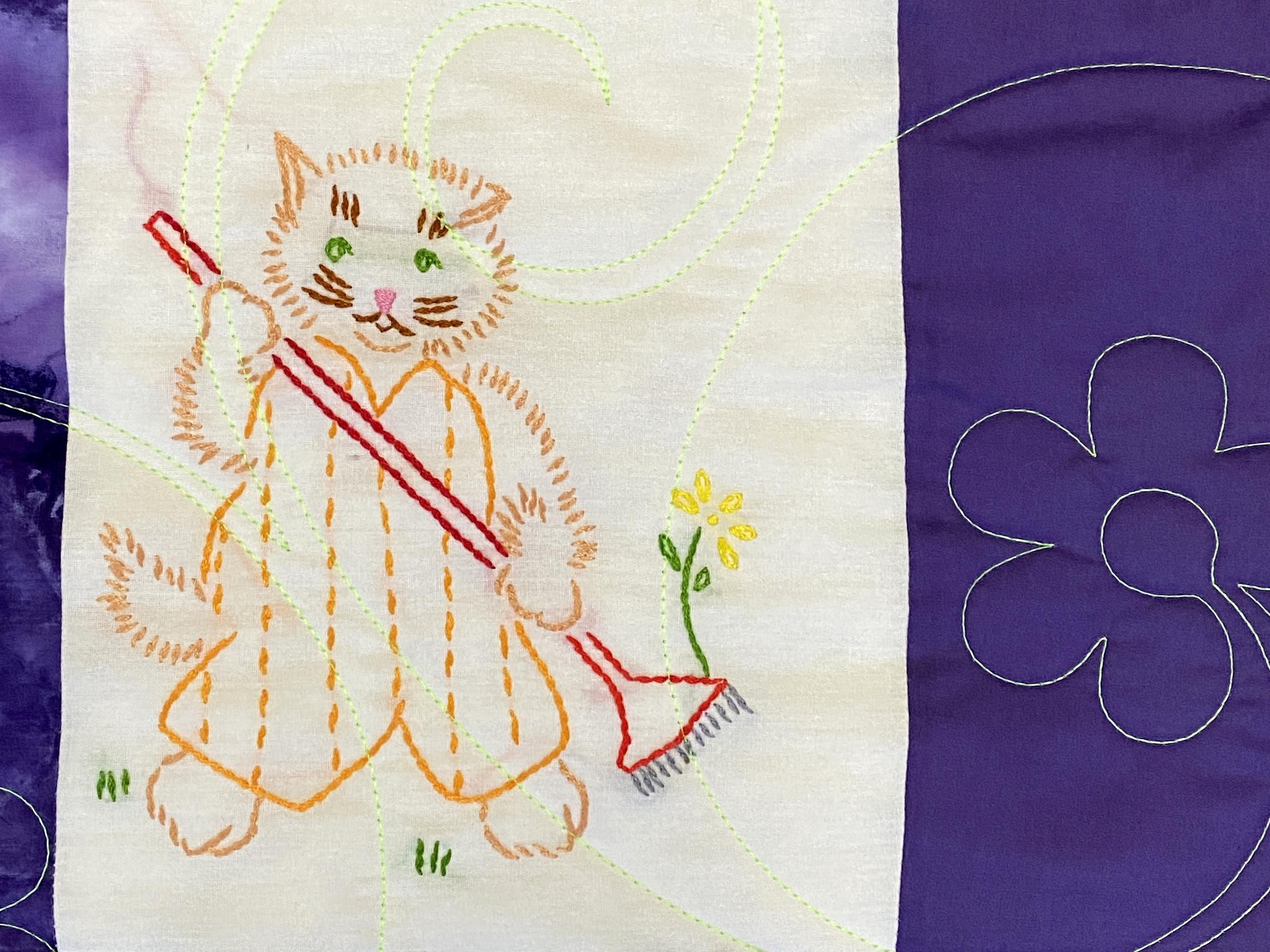 Joleeta's Embroidered Cats Throw