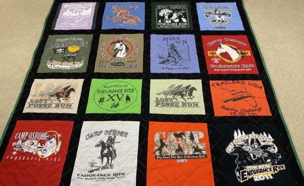 Jill's Endurance Ride T-Shirt Quilt