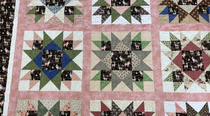 Brown & Pink Deer & Moose Quilt by Denise!